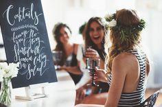 Such a cute cocktail sign. Urban Monochrome Bridal Shower Inspiration via @gws