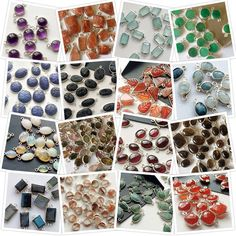 Gemstone Bezel Connectors in 925 Sterling Silver- Choose a stone & you will find the connector in that! Hand Carved Lani Lazuli, Tourmaline, Emerald, Black Onyx and many more! Flashy rainbow moonstone, blue sapphire, pink & multi tourmaline & lots more!