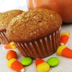 Pumpkin Muffins II - replaced 1/3 cup of oil with applesauce - reduced sugar a bit - replaced all the spices with 6 tsp of pumpkin spice