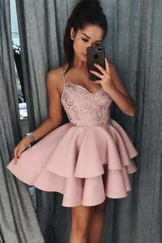 Spaghetti Straps Tiered Pink Satin Homecoming Dress with Sequins PD017 #homecomingdress #promdress #shortprom #homecoming #dress #pink straps #satin