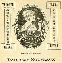 French Advertisement; Parfum Bouquet De Mamie (Perfume), 1915