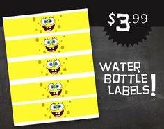 Spongebob Birthday Party Water Bottle Face by jenniferlynnamie, $3.99