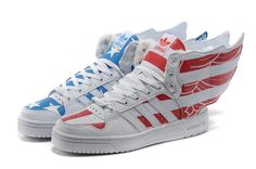 Top Design Adidas JS Wings Unisex White Blue Running Shoes