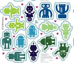 Automated Cuteness Robot Softies fabric by jenimp on Spoonflower - custom fabric- cut and sew