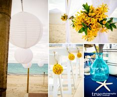 San Diego Wedding Photographers: Turks and Caicos destination wedding details with white Chinese lanterns, yellow florwers and blue galss va...