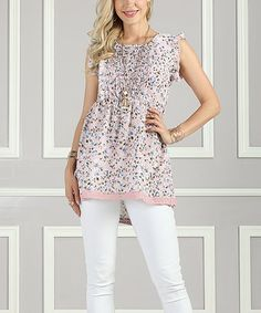 Love this Pink Floral Smocked Sleeveless Tunic - Women & Plus on #zulily! #zulilyfinds