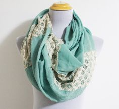 Lace Linen Infinity Scarf Minty Green Lace Scarf Mint Scarf with Lace Block Girly Scarf Infinity Scarf Christmas Gift