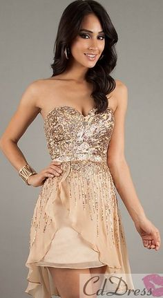 99075a13037 Sheath Sweetheart Chiffon and Sequins High Low Length Short Prom Dress