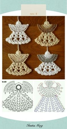 Anges au crochet                                                                                                                                                                                 Plus Crochet Christmas Ornaments, Holiday Crochet, Christmas Angels, Crochet Doilies, Appliques Au Crochet, Crochet Snowflakes, Crochet Flowers, Crochet Motif, Crochet Lace