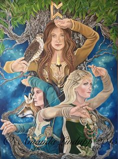 A3 The Norns / Fates Print by sacredpathart on Etsy