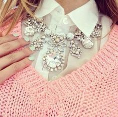 big bling bling necklace and pink sweater combo love it