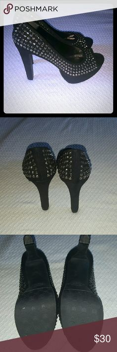 💕SALE💕 Candies peep toe studded high heels Black studded high heels.... NEVER WORN see pic 3... no wear! Feel free to ask any additional questions like additional pics or measurements.  ✅Make an offer through OFFER button ONLY ✅Negotiations welcome ❌No trades ❌No PayPal ✴Bundles encouraged✴ Candie's Shoes Heels