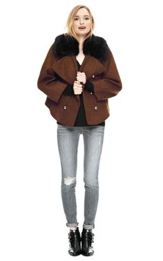 Double Breasted Shetland Jacket With Fur Collar by Bouchra Jarrar