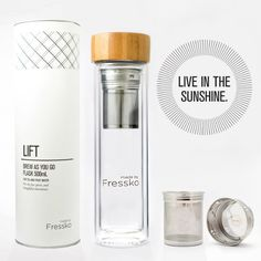 Make your vitamin water with the Fressko Fruit Water Flask! This Fressko Lift Fruit Water Flask allows you to infuse you normal water with delicious,. Glass Drinking Bottles, Drink Bottles, Blended Coffee Drinks, Water Flask, Natural Detox Drinks, Reusable Coffee Cup, Coffee Uses, Fruit Water, Infused Water Bottle