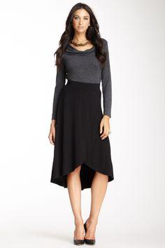 Hi-Lo Faux Wrap Skirt