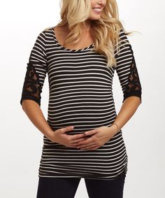 This PinkBlush Black Stripe Maternity Top by PinkBlush Maternity is perfect! #zulilyfinds