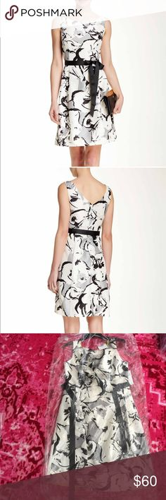 White and black print dress Brand new. Size 8. Perfect for church. Office. Or showers Signature by Robbie Bee Dresses
