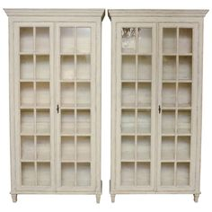 19th Century Pair of Unusual Swedish Antique Period Gustavian Book Cabinets   From a unique collection of antique and modern vitrines at https://www.1stdibs.com/furniture/storage-case-pieces/vitrines/