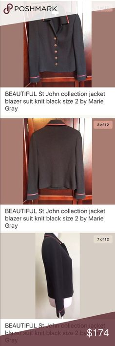 St. John collection blazer knit women's size 2 St. John Collection Blazer -collar, Black with red faux leather trim with metal clips, santana knit fabric, SJ labeled buttons down front, long sleeve, thin shoulder pads, small slits on side Condition: gently used, no issues found Measurements: Size 2, shoulders across 15, sleeve 22, chest 18, waist 17.5, length 21.5 St. John Jackets & Coats Blazers