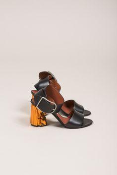 Obin Ankle Strap Sandals, Black/Orange by Acne Studios #kickpleat #acnestudios