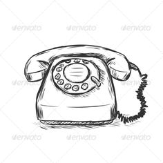Vector sketch illustration - old rotary phone royalty free cliparts Whatsapp Pink, Whatsapp Logo, Drawing Sketches, Drawings, Old Phone, Phone Photography, Phone Covers, Rotary, Doodles