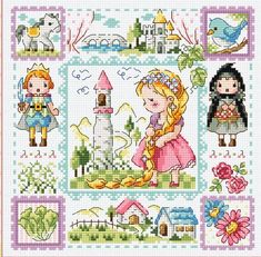 Rapunzel cross stitch pattern and 14 CT kit Sodastitch