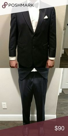 "Dillard's pin stripes suit 42R Dillards Hart Schaffner Marx ""1887"" Suit 2 Piece Black Pants/Coat Pinstripes 42R W36  2 Button, 2 Piece, Black with silver white Pinstripes. Made in USA.  Very nice suit. Only worn a few times. Dry-cleaned and ready to wear.  Coat Size: 42R Waist Size: 36 Inseam: 28 (The total length of the pants from top of the waist band to the bottom of the cuff is 41 inches.). Fits like 36x32.  NO holes, NO stains, NO fading. Hart Schaffner Marx Suits & Blazers Suits"