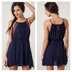 Sale Navy Fit And Flare Tank Dress