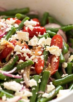 Close up of Green Bean Salad with Cherry Tomatoes and Feta in a white salad bowl, ready to be served Juicy Baked Chicken, Baked Chicken Breast, Cherry Tomato Salad, Cherry Tomatoes, Green Bean Salads, Green Beans, Kale Salads, Tomato Benefits, Lemon Salad Dressings