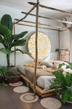 21 Best Canopy Bed Examples To Introduce Into Your Bedroom Boho Be. - 21 Best Canopy Bed Examples To Introduce Into Your Bedroom Boho Bedroom Design With R - Bohemian Bedroom Decor, Boho Room, Earthy Bedroom, Nature Bedroom, Romantic Bedroom Design, Indie Bedroom, Jungle Bedroom, Warm Bedroom, Light Bedroom