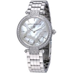 Harry Winston Premier Mother Of Pearl Dial Ladies 18K White Gold Watch (€23.660) ❤ liked on Polyvore featuring jewelry, watches, white gold watches, round watches, 18k jewelry, dial watches and harry winston jewelry