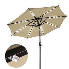 Amazon.com : Yescom 9' Beige Outdoor Patio Garden Deck Aluminium Umbrella w/ 32 Solar Powered LED Crank Tilt UV30 : Patio, Lawn & Garden