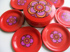 Mod Flower Power Coaster Set RESERVED for thegingerbreadgirl. $10.00, via Etsy.
