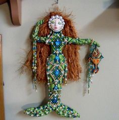 OOAK Celtic PEARL Mermaid fantasy beaded cloth art doll 11 in. tall