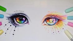 Anime Drawings Sketches, Cool Art Drawings, Pencil Art Drawings, Colorful Drawings, Desenhos Halloween, Eyes Artwork, Art Inspiration Drawing, Anime Eyes, Marker Art
