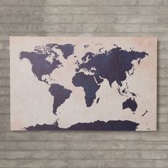 Trent Austin Design 'World Map - Navy' by Michael Tompsett Graphic Art on Wrapped Canvas