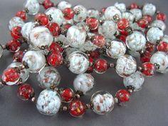 "Antique LONG 50""  Venetian Aventurine Glass Sommerso Murano Bead Necklace"