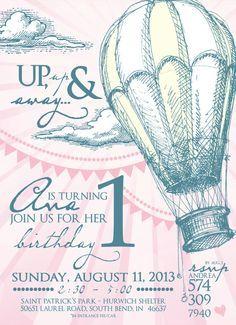 Vintage Hot Air Balloon Party Invitation by LeslieStarDesign, $15.00