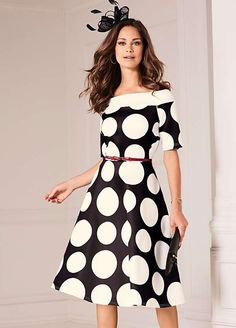 Polka Dot Print Scuba Prom Dress