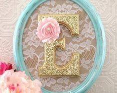 Mint and Gold Nursery Decor Decorative Letters Baby Girl Nursery Decor Shabby Chic Nursery Hanging Wall Letters