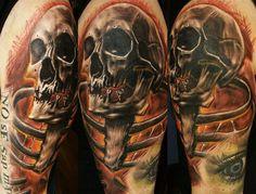 Tattoo Artist - Don Fat | www.worldtattoogallery.com/skull-tattoo