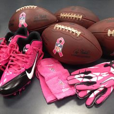 Some of the items players will be wearing during Breast Cancer Awareness month. Love that the NFL supports breast cancer month.