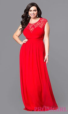2a0c34f2e4e Long Plus Prom Dress with Lace at PromGirl.com Plus Prom Dresses