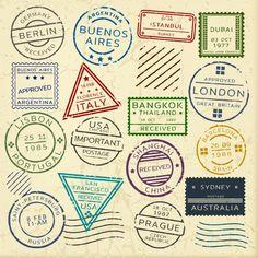Download Colorful Vintage Postage Stamps Set for free