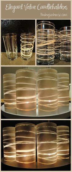 dollar glasses, rubber bands, and spray paint to make beautiful candle holders
