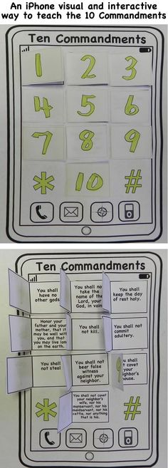 An iphone visual and interactive way to teach the 10 commandments. This craft will help you prepare your Sunday school lesson on Exodus 19:18 - 20:18 on the Bible story of the Ten Commandments.: