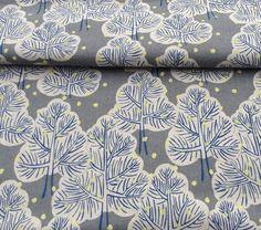 Japanese Winter Trees - Grey - Cotton Linen
