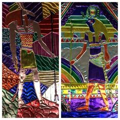 Egyptian Metal Designs~cardboard covered with foil, design taped at the top edge, trace design in a colored pencil, flip design paper behind, color in areas with colored permanent Sharpies, outline with black Sharpie. Kids love this project!