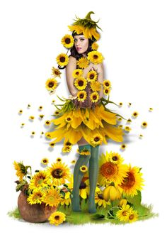 """Sunflowers Doll"" by helenehrenhofer ❤ liked on Polyvore featuring art"
