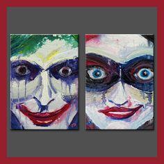 "Happy Together? - Joker Harley Quinn Batman Suicide Squad Mad Love splatter abstract drip pop art portrait 5""x 7"" or 8""x 10"" ART PRINT SET -"